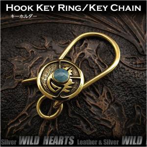 キーホルダー キーフック 真鍮 ターコイズ ネイティブ インディアンスタイル ナバホ族スタイル  (ID kh3465k5)|wild-hearts