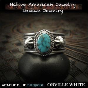 新品 オーヴィル・ホワイト/Orville White リング 23号 アパッチブルー ターコイズ  インディアンジュエリー シルバー925 ナバホ族 (ID na3199r73)|wild-hearts