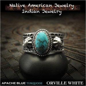 新品 オーヴィル・ホワイト/Orville White リング 25号 アパッチブルー ターコイズ  インディアンジュエリー シルバー925 ナバホ族 (ID na3200r73)|wild-hearts