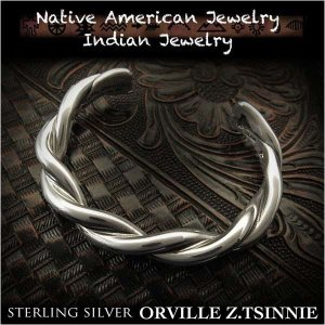 新品 オーヴィル・ツィニー/Orville Z.Tsinnie ツイストバングル ブレスレット インディアンジュエリー シルバー925 ナバホ族 ユニセックス (ID na3201r73)|wild-hearts