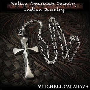 新品 インディアンジュエリー ペンダント ネックレスチェーン/50cm付き クロス/十字架 シルバー ミッシェル・カラバザt(ID na3207r73)|wild-hearts