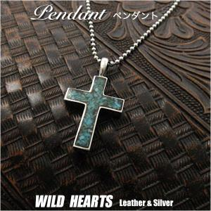 ペンダントトップ シルバー925 ターコイズ クロス 十字架  (ID pt0931) wild-hearts