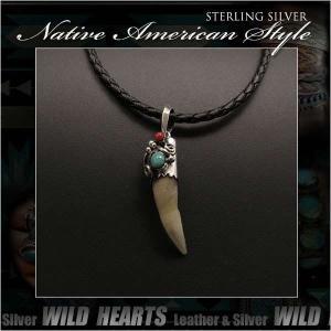 ペンダントトップ ネックレストップ シルバー925 インディアン スタイル クロコダイル/ワニ牙 ターコイズ レッドコーラル (ID pt3225)|wild-hearts