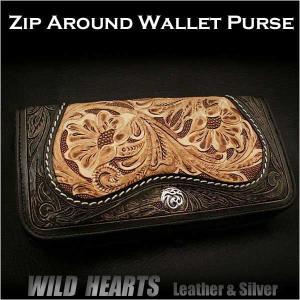 長財布 ラウンドファスナー財布 レザー 牛革 花柄カービング (ID rlw01r21)|wild-hearts