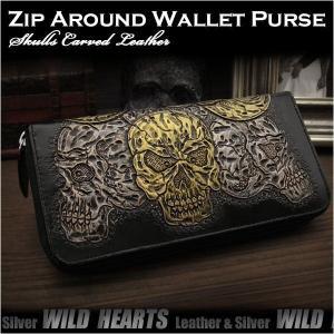 スカル/ドクロ カービング 長財布 ラウンドファスナー ラウンドジッパー サドルレザー/牛革 (ID rlw3305)|wild-hearts