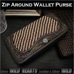 長財布 ラウンドファスナー 財布 ラウンドジッパー メッシュ&カービング レザー/牛革 カービング  (ID rlw3307)|wild-hearts