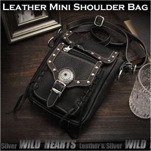 送料無料!レザーショルダーバッグ/ポーチ レザー 牛革 ブラック (ID sb1243b28)|wild-hearts