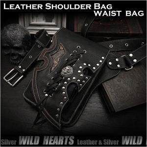 レザー ショルダーバッグ ウエストバッグ ヒップバッグ スカル/ドクロ 2WAY ブラック/黒 (ID sb1245r61)|wild-hearts