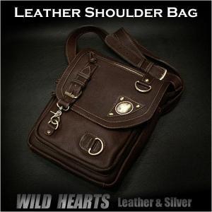 レザー ショルダーバッグ 本革 メッセンジャーバッグ ダークブラウン (ID sb1439t26)|wild-hearts