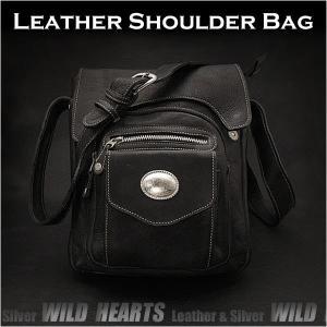 ショルダーバッグ レザー/牛革 メンズ メッセンジャーバッグ ブラック/黒 (ID sb1692t35)|wild-hearts
