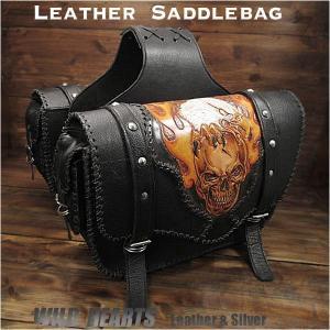 バイク用 サドルバッグ スカル/ドクロ/カービング 左右セット レザー/牛革 ハンドメイド  (ID sb2118)|wild-hearts