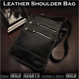 レザー ショルダーバッグ 牛革 メッセンジャーバッグ ブラック(sb3244r55)|wild-hearts