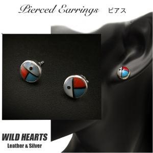 インディアンジュエリー ピアス シルバー925 サンフェイス/ターコイズ/レッドコーラル シルバーアクセサリー(ID se2232)|wild-hearts