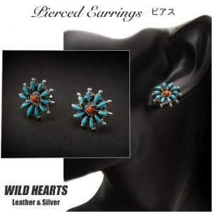 インディアンジュエリー ピアス シルバー925 ターコイズ&レッドコーラル  イヤリング (ID se2235)|wild-hearts