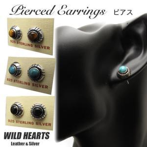 ピアス シルバー925 タイガーアイ/ターコイズ/オニキス イヤリング インディアンジュエリー   (ID se3563)|wild-hearts