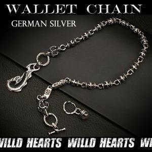 ウォレットチェーン/キーチェーン/クロス/メタル/ジャーマンシルバー (ID wc1819r6)|wild-hearts