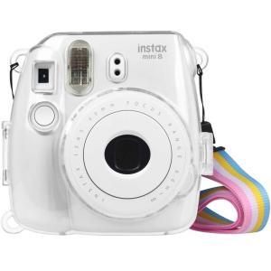 Fintie FUJIFILM インスタントカメラ チェキ クリア カメラケース 透明 ハード PVC カバー 首掛け ストラップ付き