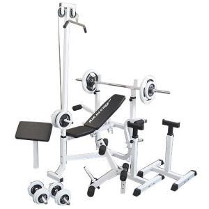 マルチセーフティージムセット 白ラバー70kg / 筋トレ トレーニング器具 ダンベル バーベル ベンチプレス ワイルドフィット|wildfit