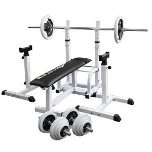 フォールディングジムセット 白ラバー70kg / 筋トレ 器具 ベンチプレス トレーニング器具 バーベル ダンベル 腹筋 ワイルドフィット|wildfit