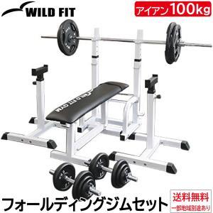 フォールディングジムセット アイアン100kg / 筋トレ 器具 ベンチプレス トレーニング器具 バーベル ダンベル 腹筋 ワイルドフィット|wildfit