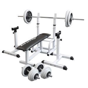 フォールディングジムセット 白ラバー100kg / 筋トレ 器具 ベンチプレス トレーニング器具 バーベル ダンベル 腹筋 ワイルドフィット|wildfit