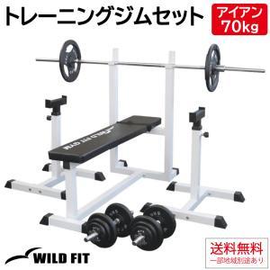 トレーニングジムセット アイアン70kg / 筋トレ ベンチプレス ダンベル バーベル トレーニング器具 ワイルドフィット|wildfit