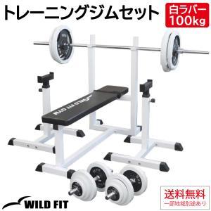 トレーニングジムセット 白ラバー100kg / 筋トレ ベンチプレス ダンベル バーベル トレーニング器具 トレーニングマシン
