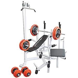 マルチトレーニングジムセット 赤ラバー140kg / 筋トレ トレーニング器具 ダンベル バーベル ベンチプレス ワイルドフィット|wildfit