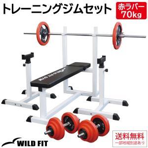 トレーニングジムセット 赤ラバー70kg / 筋トレ ベンチプレス ダンベル バーベル トレーニング器具 トレーニングマシン