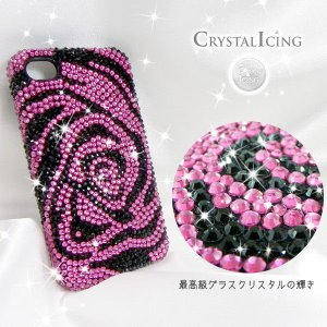 Lux Mobile Black and Pink Flower, Crystal Case for iPhone4s ブラック&ピンクフラワー 花 クリスタル Crystal Icing デコ レーション ケース|will-be-mart