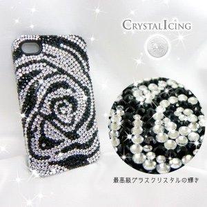 Lux Mobile Balck and White Flower, Crystal Case for iPhone 4/4s ブラック&ホワイトフラワー 花 白 黒 クリスタル Crystal Icing ケース|will-be-mart