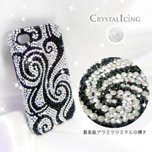 Lux Mobile Black and White Swirl, Crystal Case for iPhone 4/4s ケース ブラック&ホワイトスワール 渦 Crystal Icing デコレーション ケース|will-be-mart