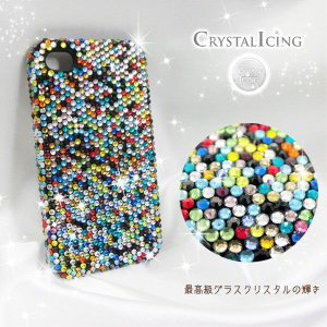 Lux Mobile Confetti, Crystal Case for iPhone 4/4s ケース 虹 レインボー、色紙片、紙ふぶき クリスタル Crystal Icing デコレーション ケース will-be-mart