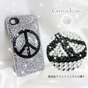 Lux Mobile Peace, Crystal Case for iPhone 4/4s ケース ピース 平和 クリスタルアイシング Crystal Icing デコレーション ケース will-be-mart