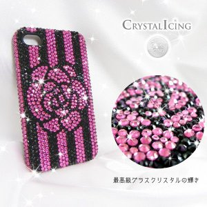 Lux Mobile Striped Flower, Crystal Case for iphone4s ケース ストライプドフラワー 花 ピンク クリスタル Crystal Icing デコレーション ケース will-be-mart