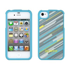 iPhone 4s ケース Speck Products アイフォン 4 ケース Fitted - HyperStripe Teal ストライプ|will-be-mart
