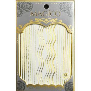 MAGICO ネイル ステッカー シール MGC20 ゴールド カーブ 鎖 ストレート ライン|will-be-mart