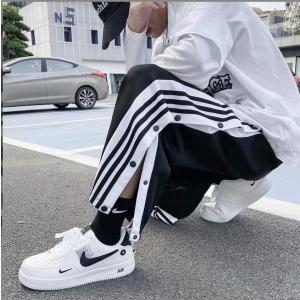 サイドラインスリットボタンロングパンツ韓国HIPHOPストリートダンス衣装原宿系オルチャンワイド|will-style