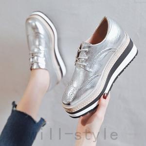 オックスフォードシューズ韓国厚底オルチャンストリート靴メタリックローファー原宿系きれいめおじ靴マニッシュ|will-style