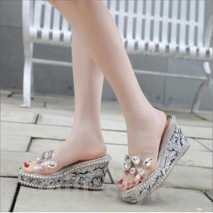 ウエッジソールサンダル韓国オルチャン厚底派手スタッズビーズミュールラメキラキラメタリックPVC靴シューズラインストーン|will-style