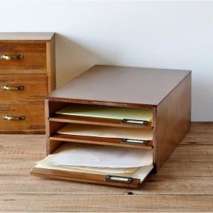 書類ケース 引き出し 木製 トレー 書類入れ レターケース A4 整理箱 収納 アンティーク ナチュラル インテリア 雑貨 日本製の写真