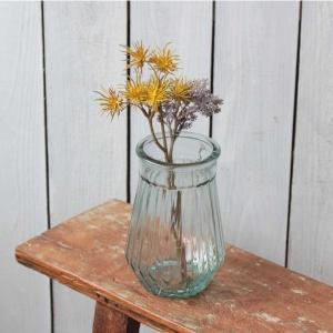 花瓶 おしゃれ ガラス 花びん フラワーベース 花器 レトロ アンティーク 高さ16.5cm 直径1...