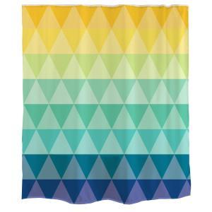 Orange Design シャワーカーテン 幾何 シンプル 虹 レインボー グラデーション 米国 三角形 立体 格子 簡単 紡績物 ポリエ willy-willy-zakka