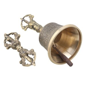 Yibuy 中等サイズ 78mm直径 ゴールデン 真鍮 チベット ハンドベル 瞑想 & 祈り ベルズヴァラ|willy-willy-zakka