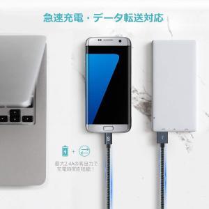 Syncwire Micro USB ケーブル 2m 2本セットマイクロusbケーブル (3重編込の高耐久ナイロン素材 / 急速充電/高速デ|willy-willy-zakka