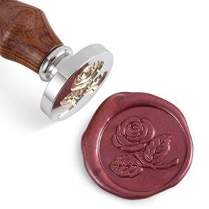 エムシール(Mceal) シーリングスタンプ 30MM銀メッキシール+ローズウッドグリップ(薔薇の花...