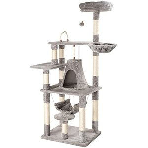 Mwpo キャットタワー 猫タワー 据え置き 麻紐 172cm巨大サイズ 大型猫 2つハンモック 匂いなし 022B|willy-willy-zakka