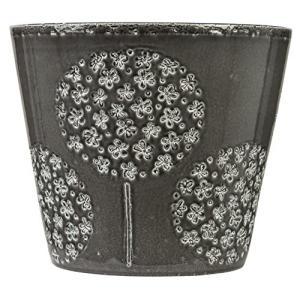 シューリッヒ 鉢カバー GLASS GREY グラス グレイ 3号鉢用 黒 707/13cm|willy-willy-zakka