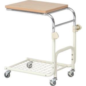 木目調 ベッドサイドテーブル/補助テーブル 〔幅42cm〕 ホワイト スチールフレーム 棚/キャスタ...