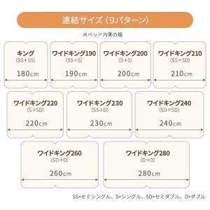 日本製 連結ベッド 照明付き フロアベッド ワイドキングサイズ280cm(D+D) (ベッドフレームのみ)『NOIE』ノイエ ホワイト 白〔代引不可〕|windingys|05